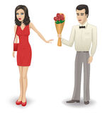 Rejection of the bouquet. The man gives a girl a bouquet of roses. The girl refuses vector illustration
