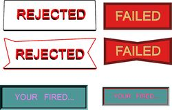 Rejection  failed signage. Failed and rejection signage in 3d on white Stock Images