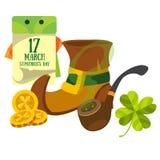 Rejetez le gnome, tuyau de tabagisme, un calendrier 17 mars jour Jour de s de StPatrick ' Photo stock