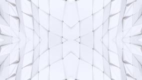 Rejilla 3D o malla poligonal blanca que agita abstracta de objetos geométricos que pulsan Uso como ciberespacio abstracto geométr stock de ilustración