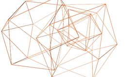 Rejilla 3D o malla que agita anaranjada abstracta de objetos geométricos que pulsan Uso como fondo futurista abstracto Naranja almacen de metraje de vídeo