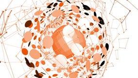 Rejilla 3D o malla que agita anaranjada abstracta de objetos geométricos que pulsan Uso como ambiente futurista abstracto Naranja almacen de metraje de vídeo