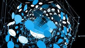 Rejilla 3D o malla que agita azul abstracta de objetos geométricos que pulsan Uso como estructura abstracta del átomo Geométrico  metrajes