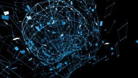 Rejilla 3D o malla que agita azul abstracta de objetos geométricos que pulsan Uso como fondo cibernético abstracto azul almacen de metraje de vídeo