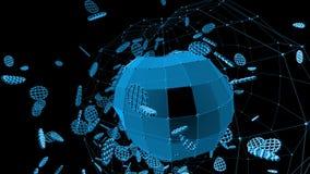 Rejilla 3D o malla que agita azul abstracta de objetos geométricos que pulsan Uso como fondo futurista abstracto azul almacen de metraje de vídeo