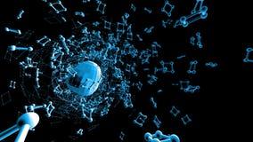 Rejilla 3D o malla que agita azul abstracta de objetos geométricos que pulsan Uso como paisaje abstracto de la ciencia ficción Ge almacen de metraje de vídeo
