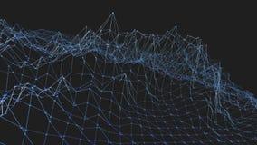 Rejilla 3D o malla que agita azul limpia abstracta como fondo único Ambiente vibrante geométrico azul o matemáticas que pulsa almacen de video