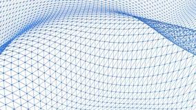 Rejilla 3D o malla que agita azul limpia abstracta como fondo de la historieta 3d Ambiente vibrante geométrico azul o el pulsar metrajes