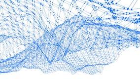 Rejilla 3D o malla que agita azul simple abstracta como ambiente del espacio Ambiente vibrante geométrico azul o matemáticas que  almacen de metraje de vídeo