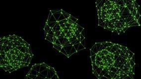 Rejilla 3D o malla que agita verde limpia abstracta como fondo del CG Ambiente vibrante geométrico verde o matemáticas que pulsa ilustración del vector