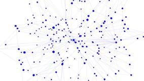 Rejilla 3D o malla que agita violeta abstracta de objetos geométricos que pulsan Uso como estructura molecular abstracta violeta metrajes
