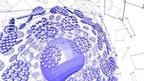 Rejilla 3D o malla que agita violeta abstracta de objetos geométricos que pulsan Uso como visualización científica abstracta viol almacen de metraje de vídeo