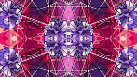 Rejilla 3D o malla violeta roja poligonal que agita abstracta de objetos geométricos que pulsan Uso como ciberespacio abstracto ilustración del vector
