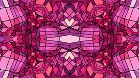 Rejilla 3D o malla violeta roja poligonal que agita abstracta de objetos geométricos que pulsan Uso como ciberespacio abstracto stock de ilustración
