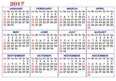Rejilla del calendario Fotos de archivo libres de regalías