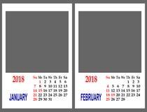 Rejilla del calendario Foto de archivo libre de regalías