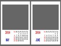 Rejilla del calendario Fotografía de archivo libre de regalías