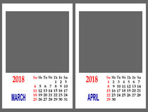 Rejilla del calendario Imágenes de archivo libres de regalías