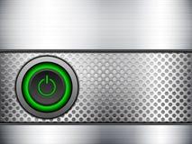 Rejilla del metal del botón de encendido ilustración del vector