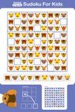 Rejilla del rompecabezas de Sudoku para los niños con los animales de la historieta ilustración del vector