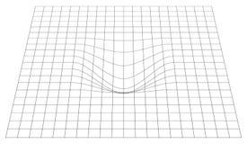 Rejilla doblada en perspectiva malla 3d con la distorsión convexa ilustración del vector