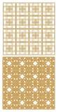 Rejilla metálica de oro con los modelos del art déco Dos modelos, repetible, inconsútiles con el efecto 3D Imagenes de archivo