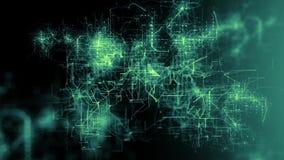 rejilla que brilla intensamente del extracto 3D de las líneas de conexión y de los pulsos eléctricos - verde libre illustration