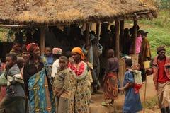 Rejoice . Happy villagers in the community Rwanda Royalty Free Stock Image