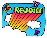 Rejoice word with rays and butterflies Royalty Free Stock Images