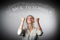 Rejoicing. Back to school concept. Stock Photo