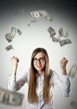 rejoicing Donna nel bianco e nei dollari Immagine Stock Libera da Diritti