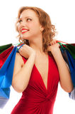 Rejoicing girl in red dress Stock Photos