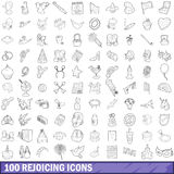100 rejoicing icons set, outline style. 100 rejoicing icons set in outline style for any design vector illustration Stock Images