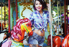 Rejoicing. Merriment. Excited Lively Woman in Funfair Smiling royalty free stock photography