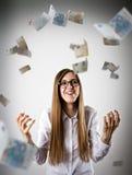 rejoicing Mulher no branco e no Euro Imagem de Stock Royalty Free