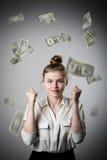 rejoicing Ragazza nel bianco e nei dollari Immagine Stock