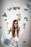Rejoicing. Woman in white and Euro. Royalty Free Stock Photography