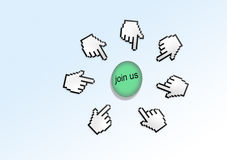 Rejoignez-nous de curseur d'indicateur de main Images libres de droits