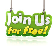Rejoignez-nous pour la bannière de texte libre accrochant sur le fond blanc Image libre de droits