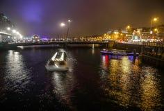 Rejs łódź w noc kanałach Amsterdam Fotografia Royalty Free