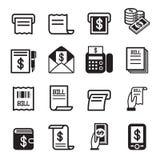 Rekening, geld, geplaatste inkomenspictogrammen Stock Afbeeldingen