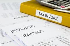 Rekeningen, Belastingsrekening en kooporders stock afbeeldingen