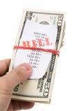 Rekeningen en dollars Stock Foto's