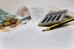 Rekeningen en financiële kosten Stock Afbeelding