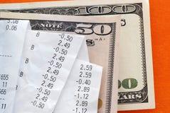 Rekeningen over dollarbankbiljetten Stock Foto