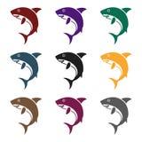 Rekin ikona w czerń stylu na białym tle Zwierzę symbolu zapasu wektoru ilustracja Obrazy Royalty Free