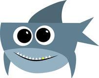 Rekin z otwartym usta tło białe kawałki izolacji Płaska ilustracja Obraz Stock
