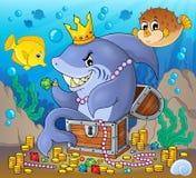 Rekin z skarbu tematu wizerunkiem 2 royalty ilustracja