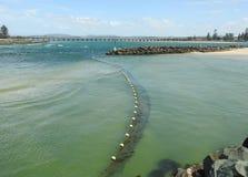 Rekin zarabia netto ochraniać plażę Zdjęcie Royalty Free