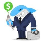 Rekinu biznes utrzymuje walizkę i ryba Zdjęcia Stock